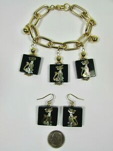 Lee Sands Shell Inlaid Cat Charm Bracelet & Earring set