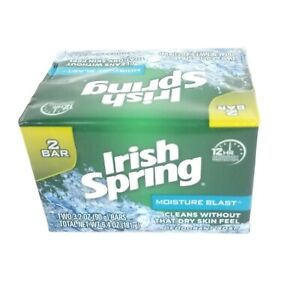 New !  1 Pack that contains 2 x 3.2 oz Bars Irish Spring Moisture Blast Cleans