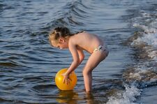 """perfact oil painting""""A little girl is playing with a ball in the sea """"@N2490"""