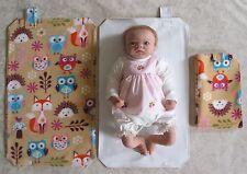 HAND MADE Baby Travel cambiando MAT-FOX, HEDGEHOG & Owl Stampa d'epoca