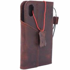 full leather Case for apple iphone x wallet handmade cover magnetic luxury oil