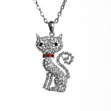 Cat Charm Rhinestone Pendant Necklace with 26inch Oval Chain