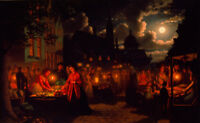 "perfect 36x24 oil painting handpainted on canvas ""Moonlit Market ""@N13617"