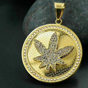 Men's Pendant Icy 14k Yellow Gold Plated Stainless Steel Round Shape Pendant