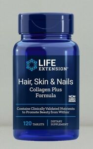 Hair Skin & Nails Collagen Plus Formula by Life Extension, 120 tablet