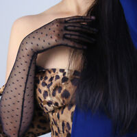 Heart Shape Lace Long Gloves Stretch Tulle Nylon Black Semi Sheer Touchscreen