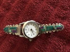 Native American Sterling Silver Multi Colors Opal Ladies Watch Green Purple
