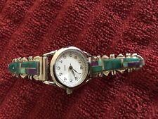 Opal Ladies Watch Green Purple Native American Sterling Silver Multi Colors