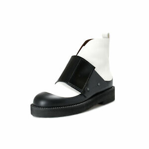 Marni Women's Black & White Leather Ankle Boots Shoes US 11 IT 41