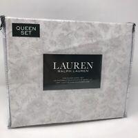 Ralph Lauren Queen Floral Sheet Set Light Gray White 100% Cotton 300 TC