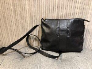 Authentic FENDI Vintage Black Leather Crossbody Bag