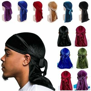 Unisex Women Men Velvet Durag Hat Cap Premium Design Doo Rag Wave Bicycle Dance