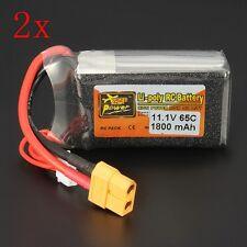 2 PCS ZOP Power 11.1V 1800mAh 65C 3S Lipo Battery XT60 Plug