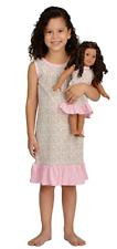 Girl and Doll Matching Outfit Clothes - Pajama Nightgown Set for Girl & Doll