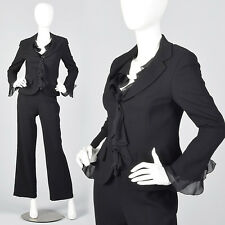 Xs Wool Crepe Escada Couture Black Pant Suit Long Sleeve Top Pant Set Two Piece