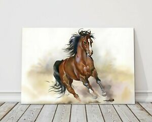 running horse watercolour painting canvas print framed picture wall art