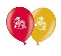 """Chinese Dragon Printed 12"""" Asst Latex Balloons pack of 8 by Party Decor"""