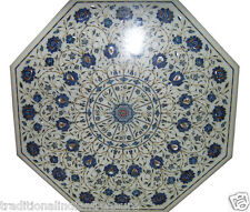 "30"" White Marble Coffee Table Top Lapis Lazuli Inlay Marquetry Collectible Decor"
