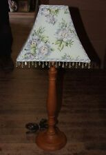 2003 Designer LAURA ASHLEY Wood Lamp Crystal Drops Floral Shade Lavendar Violet