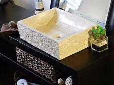 Natural Stone Vessel Sink Beige Travertine marble rustic chiseled Bathroom