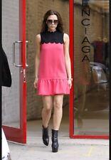 Victoria Beckham Inspired Scalloped Lover Fuschia Pink Black Crepe Dress 8 10 12