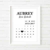 Personalised Baby Toddler Birth Calendar Wall Print Home Decor - Nursery Bedroom
