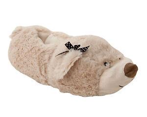 WOMENS 3D TEDDY BEAR SLIP ON COSY NOVELTY ANIMAL SLIPPERS LADIES UK SIZE 3-8