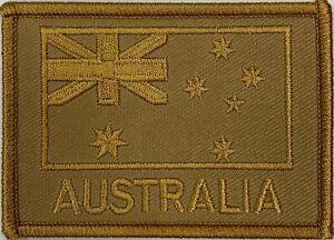Khaki Tan Subdued Tactical Australia National Flag Patch hook & loop backing.