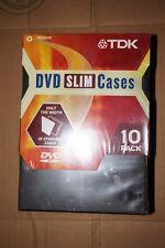 TDK DVD SLIM CASES WITH EASY RELEASE DISC HUB 10 PACK BLACK