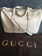 Gucci White Leather Microguccissima Boston Handbag 32231
