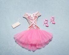 SWEET! Pink & White Genuine BARBIE Dress w/ Full Skirt Clothes w/ Heels & Purse