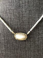 Kendra Scott Elisa Rhodium Beaded Pendant Necklace In Ivory Pearl New