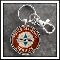 International Truck Triple Diamond Service Sign Photo Keychain Gift