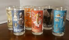 Vintage 1950's MCM Libbey 6 International Cities Tumblers Glasses Barware set