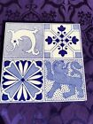 LOVELY STYLISH ANTIQUE QUARTERED ARTS   CRAFTS TILE FEATURING SEAHORSE  LION  7
