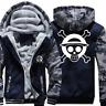 Anime One Piece Trafalgar Law Mens Thicken Zipper Jacket Coat Hoodie Sweatshirt