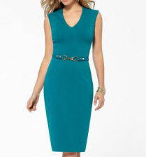 NWT CACHE SEXY Teal Green Stretch Thick  Ponte Dress Day to Night  6 ( M )