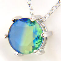 Classical Round BI-COLORED Tourmaline Gems Silver Necklace Pendant With Chain