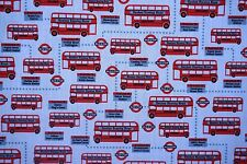 London Theme Busses Red Bus White Poly Cotton Dressmaking Bunting Sew Fabric