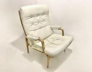 Bruno Mathsson Vintage Original Ingrid White Leather Lounge Chair by Dux Sweden