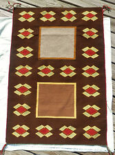 "Old-fashioned Navajo ""Ghost"" Windows Saddle Blanket - flower border 36""x53"" NR"
