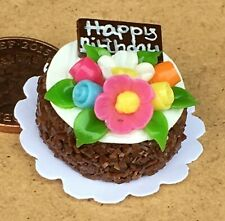 1:12 Scala Compleanno Torta Con Bianco Ciliegina Tumdee Bambola Casa Shop NC83