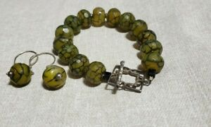 Dragon Vein Agate Toggle Bracelet & Earring Set Hand Made