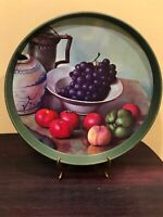 """METAL SERVING TRAY Assorted Fruit Serving Tray Round Metal Tray 12"""""""