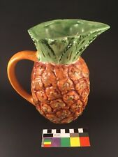 "Vintage Majolica Pineapple Pitcher Jug 8.5"" Tall"