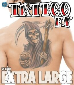 Grim Reaper XL Extra Large Temporary Tattoo FX Costume Accessory NEW