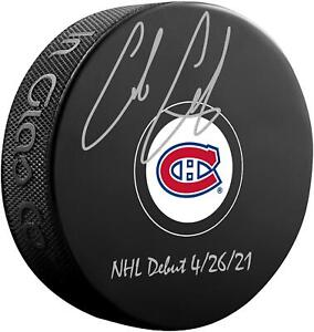 Autographed Cole Caufield Canadiens Puck Fanatics Authentic COA Item#11301479