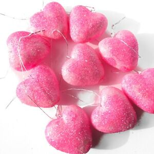 Valentines Day Pink Glitter Hearts Ornaments Set of 7 Decorations Party Decor