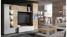 Essential TV Living Room Set in Oak White Melamine Glass LEDs Coffee Table