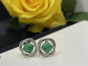 David Yurman Silver Infinity Stud Earrings with Green Onyx 7mm Authentic Used
